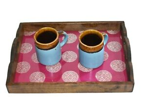 Wooden Glass Breakfast Serving Tray With beautiful Print Coffee Table Tray