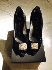 Giuseppe Zanotti Black Satin Swarovski Buckle Heels Shoes Pumps Sz41