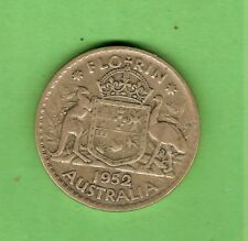 #C34. 1952  AUSTRALIAN SILVER FLORIN TWO SHILLING COIN