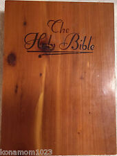 Bundle Lot: The Holy Bible NKJV Maroon Bonded Leather ~ Wooden Bible Box Case