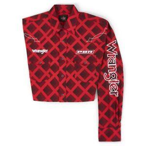 Wrangler® PBR Logo Red Plaid Long Sleeve Snap Shirt MHS238R