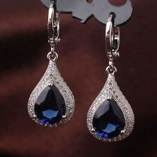 Jewelry Silver Tear Drop White Gold Filled Dangle Earring Hoop Zircon Crystal