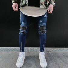 Men Ripped Skinny Biker Frayed Jeans Destroyed Slim Fit Patched Denim Pants UK