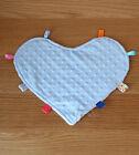 Heart minky tag taggie blanket comforter security baby boy blanket blue