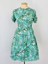 Vtg 50s 60s Rockabilly Blue Green Impressionist Floral Poly Knit Swing Dress PXS