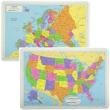 Painless Learning Educational Placemats Sets USA And Europe Maps Non Slip