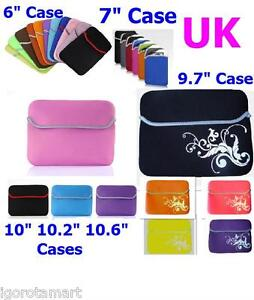 """Neoprene Soft Pouch 6"""" 7"""" 9.7"""" 10"""" Computer Netbook Tablet Case Cover Universal"""