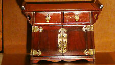 ANTIQUE 19C CHINESE ROSEWOOD CARVED JEWERLY BOX ALTAR SHAPE 5 DRAWERS 2 DOORS