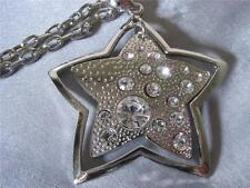 H6 Double Star Crystal Cut Out PENDANT NECKLACE Rhodium NEW
