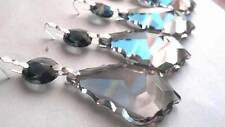 5 Asfour Satin French Cut Grey Chandelier Lead Crystal Prisms Pendalogue Gray