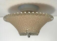"""Antique beige glass 11"""" candle wick flush mount ceiling light fixture Art Deco"""