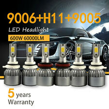 9005 + 9006 + H11 kit 3SET Combo COB Light + High Low Beam LED Headlight Bulb