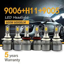 9005 + 9006 + H11 kit 3SET Combo COB Light + High Low Beam LED Headlight Bulb