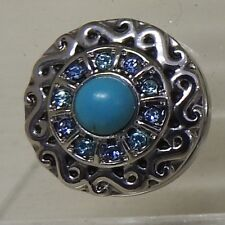 Celtic pattern 1 with Turquoise centre stone Noosa Style Snap Button