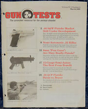 Magazine GUN TESTS March 1992 !! SMITH & WESSON Model 4013 PISTOL !! *FREE SHIP*