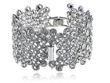 Clear Crystal Rhinestone Silver Tone Fancy Fashion Design Bracelet Bangle Cuff