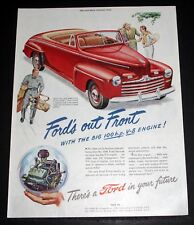 1946 OLD MAGAZINE PRINT AD, FORD'S OUT FRONT, WITH THE BIG 100 H.P. V-8 ENGINE!
