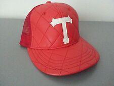 TRIUMVIR Snapback Hat Cap Trucker Mesh Woven Red T Logo Spagenhelm