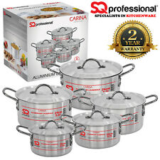 5pc Aluminium Casserole Stockpot Oven & Hob Cooking Pot Pan Set with Lids Carina