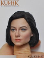 "1/6 KUMIK Female Head Sculpt Model Black Short Hair F 12"" Figure Body KM18-47"