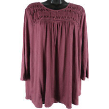 NWT New Directions Mauve 3/4 Sleeve Top Women's Size XL