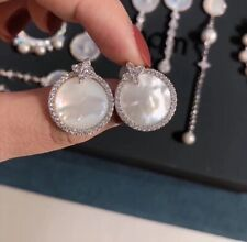 Authentic Apm Monaco ETERNELLE White Nacre Round Earrings - Silver