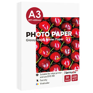 50 Sheets High Glossy A3 230g Inkjet Printer Printing Photo Paper Canon HP Epson