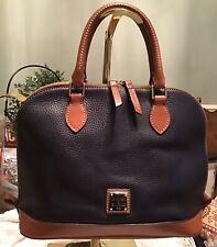Dooney Bourke Midnight Navy Blue Pebbled Leather Zip Zip Dome Satchel Bowler Bag