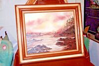 """Vintage 31x36"""" Framed Oil on Canvas """"Olympic Peninsula"""" River Signed L. Tislow"""