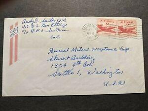 USNS GENERAL LeROY ELTINGE APA-154 Naval Cover 1951 KOREAN WAR Sailor's Mail
