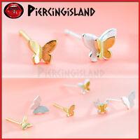 925 STERLING SILVER Gold Butterfly LADY GIRL Dainty Ear Cartilage Stud Earrings