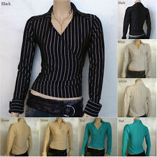 Collared Fitted Formal Striped Tops & Shirts for Women
