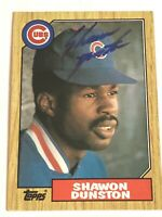 Shawon Dunston Signed Autographed 1987 Topps Baseball Card - Chicago Cubs Star