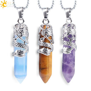 Natural Hexagonal Quartz Crystal Chakra Healing Point Pendant Necklace Jewelry