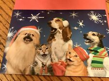 10 Christmas Note Cards Red Envelope Pomeranian Basset Hound Wire Terrier Cat