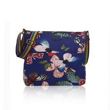 Print Canvas Cross Body Shoulder Bag Flower Animal Pattern Zip Square Dark Blue