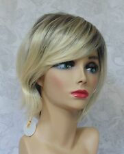 Short Shaggy Dark to Blonde Ombre High Heat Resistant Full Synthetic Wig - 125