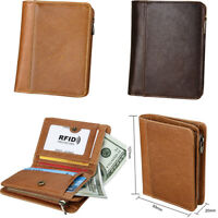Vintage Style Mens Genuine Leather Wallet Bifold RFID Blocking Casual Purse New
