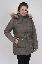 Quilted Parka With Attached Hood (Detachable Faux Fur Trim) Graphite Gray S NWT