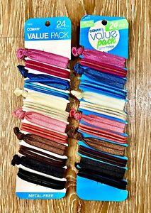 48 Count Conair Elastic Ponytail Hair Ties Metal Free Assorted Colors 2 Packs