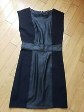 New BCBG MAXAZRIA black sleeveless dress with leather like inserts size S