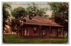 Illinois, IL Old Cahoka Court House Near St. Louis Divided Postcard Posted 1909