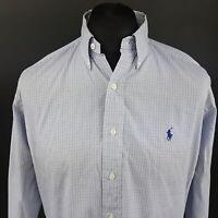 Polo Ralph Lauren Mens Shirt 15 (XL) Long Sleeve Blue Regular Fit Check YARMOUTH