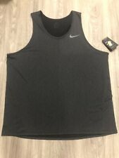 NWT Men's Sz 2XL NIKE Breathe Tank Top Shirt #832825 $30 Retail Charcoal Gray