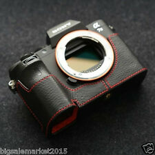 New Dignis Italian Leather Sony A7R II Half Case Black/Red for Sony ILCE-7RM2