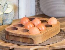 Kitchen Worktop Solid Acacia Wood 12 Egg Storage Rack Holder Wooden Box Stand