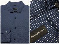 Current ERMENEGILDO ZEGNA XL Shirt Navy Blue White Polka Dots Cotton 16.5 / 37
