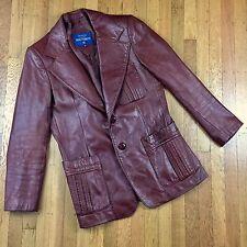 Rue Royale Nino Cerruti VTG Cognac Leather Jacket Sport Coat Blazer 40R