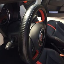 Slip-On Sporty Steering Wheel Cover Perfect Fit Black & Carbon Fiber Style