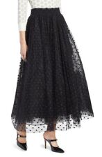 New Halogen x Atlantic Pacific Polka Dot Tulle Maxi Skirt Black s small